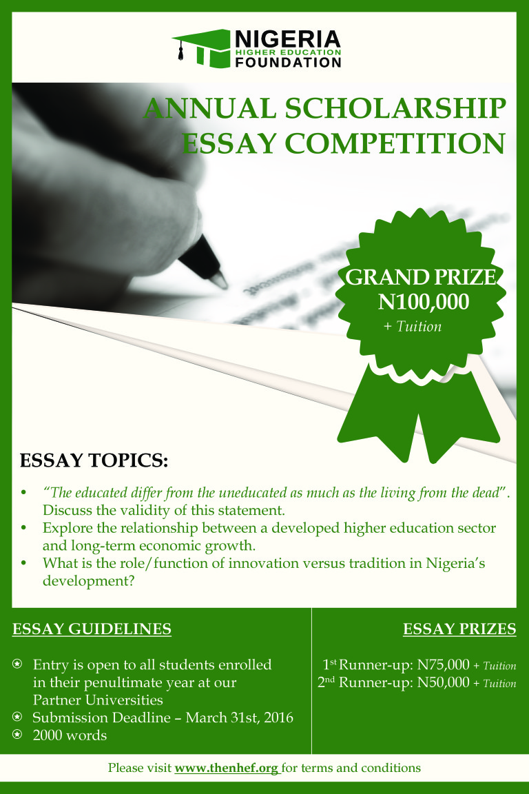 essay writing competitions nigeria Always nigeria presents the always forward ever competition for all nigerian girls to take part in toward receiving an educational grant are you a nigerian girl teenager do you satisfy the 'eligibility' criteria described below in this article.